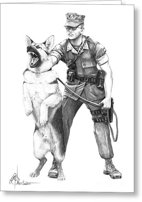 German Shepard Dogs Greeting Cards - K-9 Greeting Card by Murphy Elliott