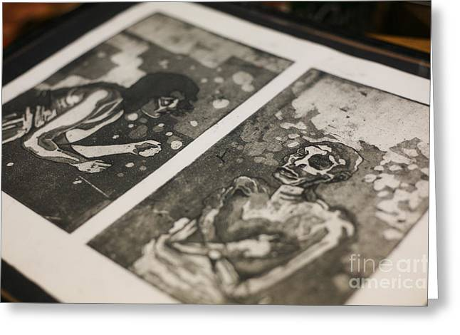 Printmaking Mixed Media Greeting Cards - K Double-You A Greeting Card by J Ethan Hopper
