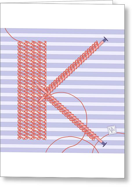 Illustrated Letter Greeting Cards - K is for Knitters and Knitting Greeting Card by Valerie   Drake Lesiak