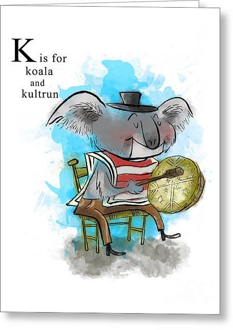 Drum Paintings Greeting Cards - K is for Koala Greeting Card by Sean Hagan