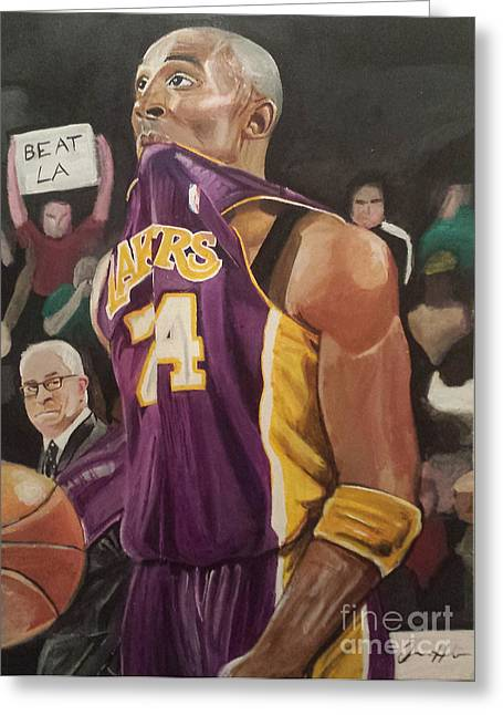 Kobe Greeting Cards - One Last Shot Greeting Card by Jason Majiq Holmes