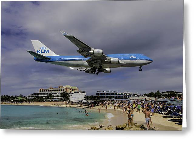 Klm Greeting Cards - K L M  landing at St Maarten Greeting Card by David Gleeson