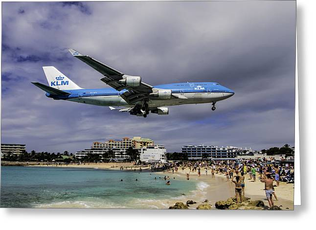 Klm Greeting Cards - K L M landing at SXM Greeting Card by David Gleeson