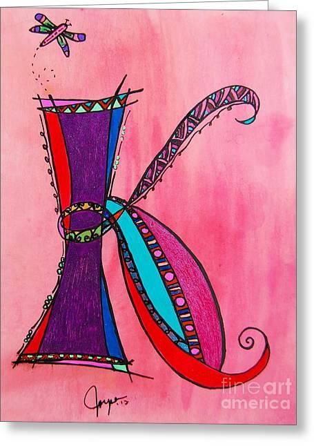 Fairy Hearts Pink Flower Greeting Cards - K Monogram Greeting Card by Joyce Auteri