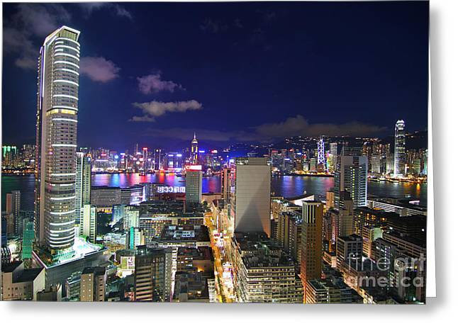 Hongkong Greeting Cards - K11 in Tsim Sha Tsui in Hong Kong at Night Greeting Card by Lars Ruecker