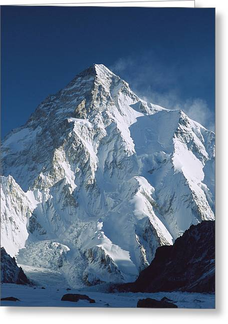 Best Sellers -  - Snow-covered Landscape Greeting Cards - K2 At Dawn Pakistan Greeting Card by Colin Monteath