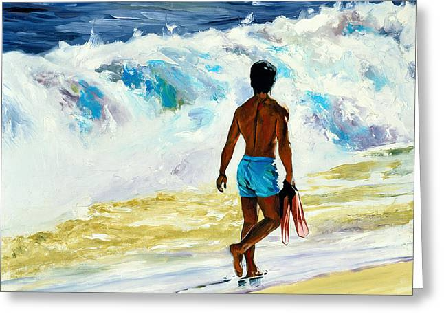 Shorebreak Greeting Cards - Ka Nalu Greeting Card by Douglas Simonson
