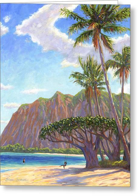 Steve Simon Greeting Cards - Kaaawa Beach - Oahu Greeting Card by Steve Simon