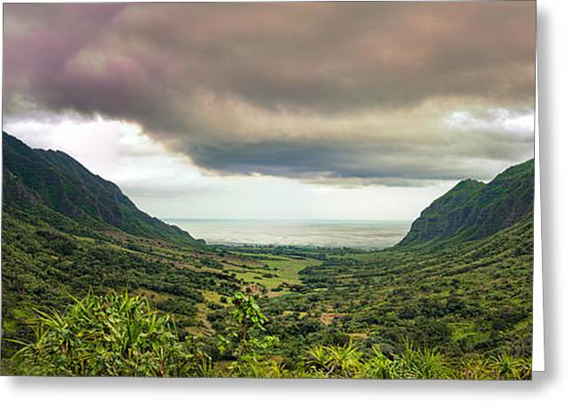 Jurassic Park Greeting Cards - Kaaawa valley panorama Greeting Card by Dan McManus