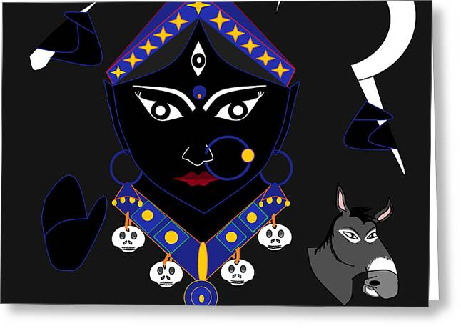 Hindu Goddess Digital Greeting Cards - Kaalraatri Greeting Card by Pratyasha Nithin