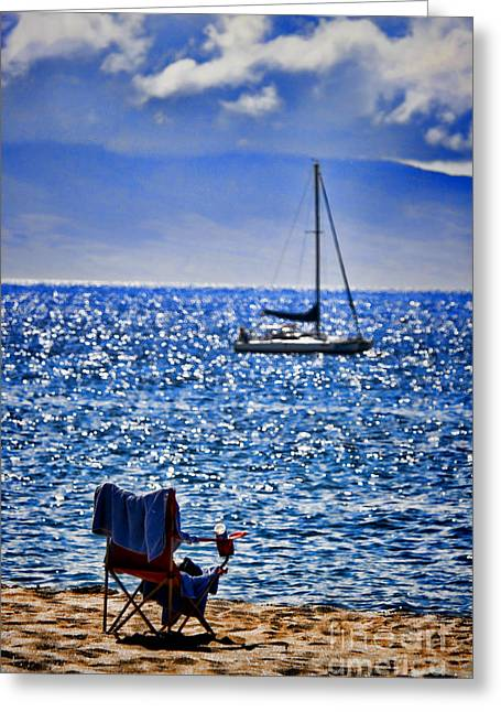 Sparkling Beach Greeting Cards - Kaana pali Beach in Maui Greeting Card by David Smith