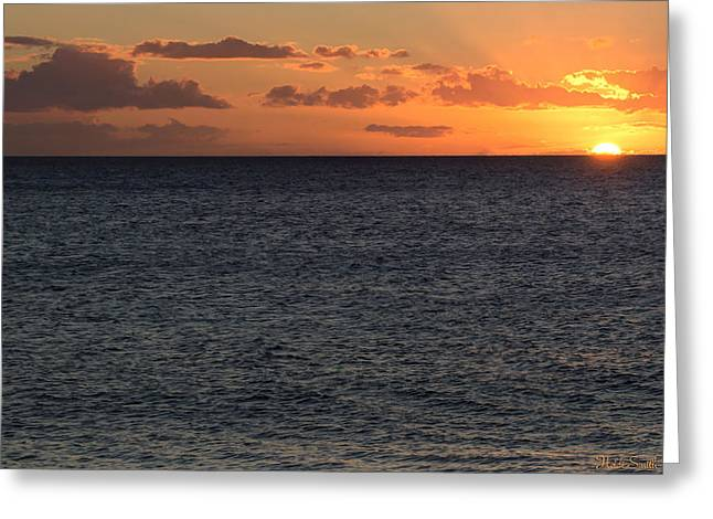 Ocean Art Photography Greeting Cards - Kaanapali Beach Sunset Greeting Card by Heidi Smith