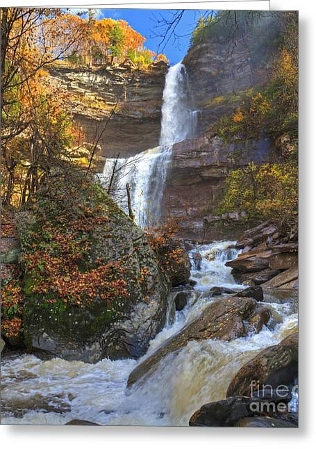 Overhang Greeting Cards - Kaaterskill Falls Autumn HDR Greeting Card by Colin D Young