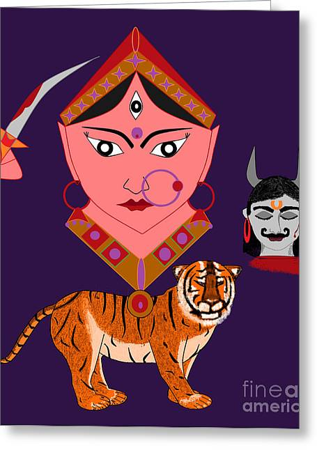Hindu Goddess Digital Greeting Cards - Kaatyayani Greeting Card by Pratyasha Nithin