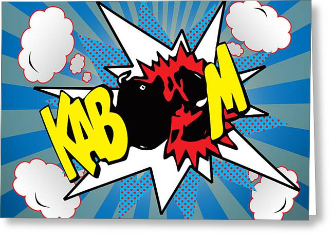 Funny Pop Culture Greeting Cards - Kaboom Greeting Card by Mark Ashkenazi