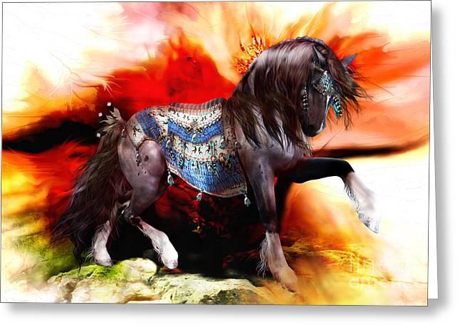 Autumn Art Mixed Media Greeting Cards - Kachina Hopi Native American Horse Greeting Card by Shanina Conway