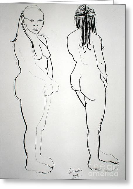 Figure Drawing Greeting Cards - Kaddie 4 Greeting Card by Joanne Claxton