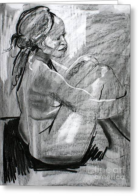 Figure Drawing Greeting Cards - Kaddie Greeting Card by Joanne Claxton