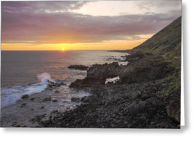 Amazing Sunset Greeting Cards - Kaena Point Sea Arch Sunset - Oahu Hawaii Greeting Card by Brian Harig