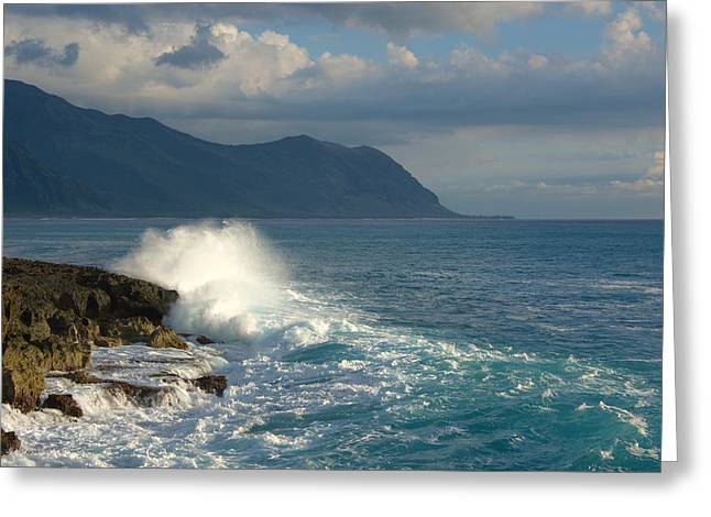 Brianharig Greeting Cards - Kaena Point State Park Crashing Wave - Oahu Hawaii Greeting Card by Brian Harig
