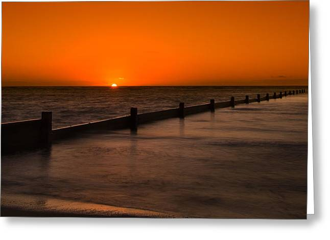 Top Seller Greeting Cards - Kahala seawall sunrise Greeting Card by Tin Lung Chao