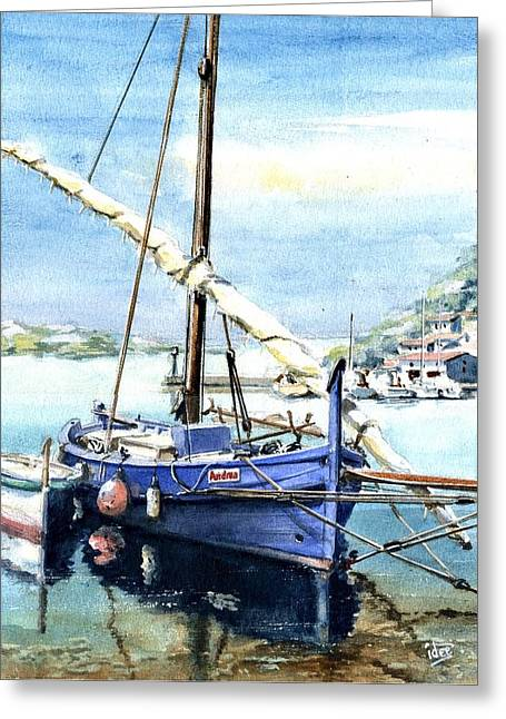 Aquarel Greeting Cards - Kaik in Greece Greeting Card by Ivo Depauw