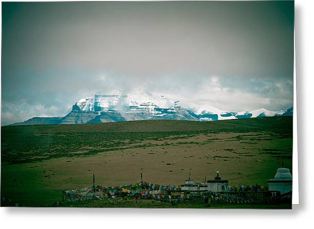Tibetan Buddhism Greeting Cards - Kailas mountain Home of the Lord Shiva view from Manasarovar Greeting Card by Raimond Klavins