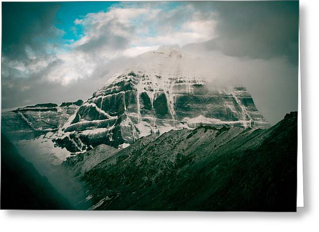 Tibetan Buddhism Greeting Cards - Kailas mountain Tibet Home of the Lord Shiva Greeting Card by Raimond Klavins