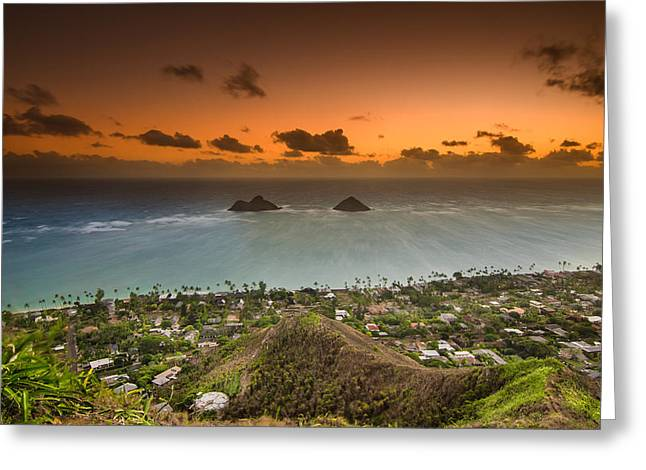 Kailua Bay Sunrise Greeting Card by Tin Lung Chao