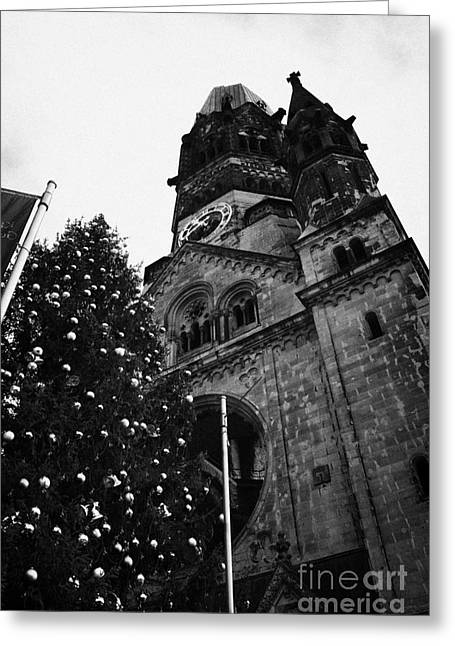 Kudamm Photographs Greeting Cards - Kaiser Wilhelm Gedachtniskirche memorial church and christmas tree Berlin Germany Greeting Card by Joe Fox