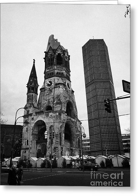 Kudamm Photographs Greeting Cards - Kaiser Wilhelm Gedachtniskirche memorial church new bell tower and christmas market Berlin Germany Greeting Card by Joe Fox