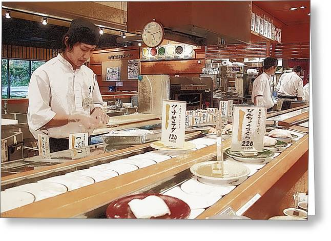 Conveyor Belt Greeting Cards - Kaiten Sushi - Japan Greeting Card by Daniel Hagerman