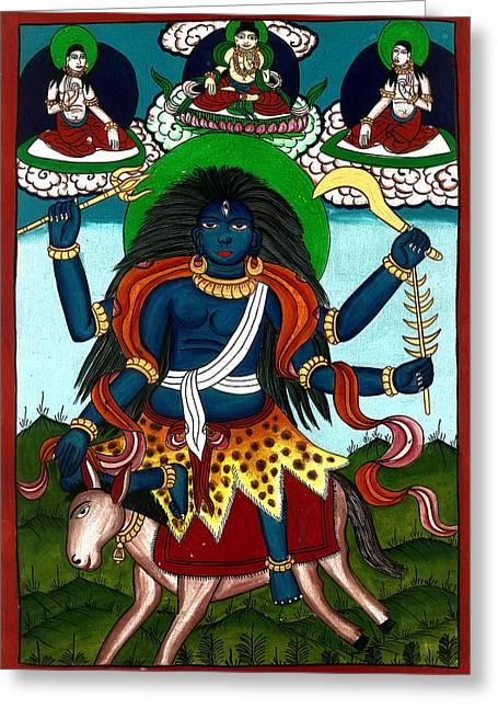 Goddess Durga Paintings Greeting Cards - Kal Ratri Greeting Card by Ashok Kumar