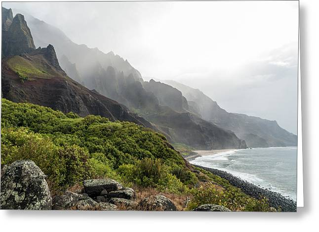 Mountain Valley Greeting Cards - Kalalau Beach Greeting Card by Brian Harig