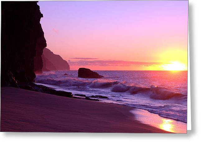 Brianharig Greeting Cards - Kalalau Beach Sunset Greeting Card by Brian Harig