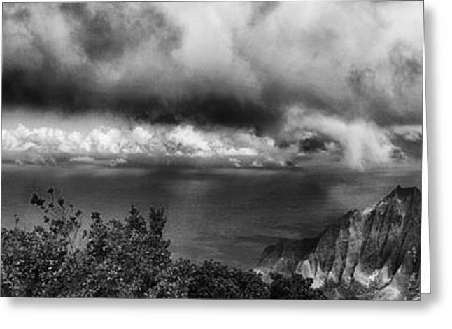 Outlook Greeting Cards - Kalalau Outlook Black and White Greeting Card by Douglas Barnard