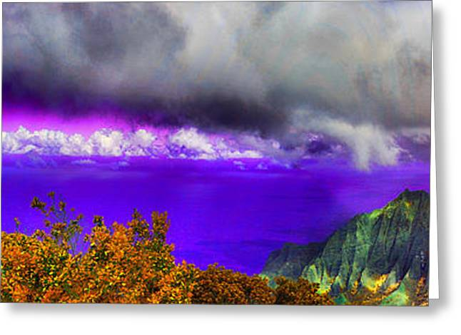 Outlook Greeting Cards - Kalalau Outlook Colors Greeting Card by Douglas Barnard