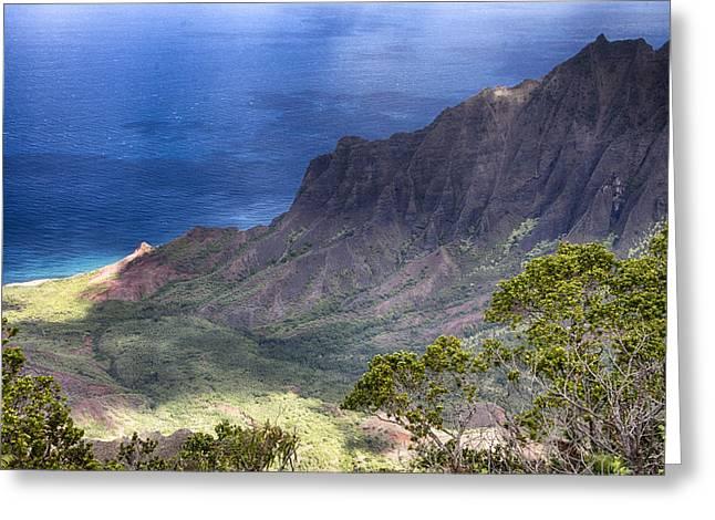 Outlook Greeting Cards - Kalalau Outlook V3 Greeting Card by Douglas Barnard