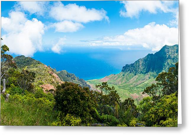 Ocean Panorama Greeting Cards - Kalalau Valley  Greeting Card by Adam Pender