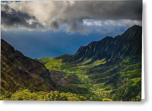 State Park; Mountains Greeting Cards - Kalalau Valley Greeting Card by Ian Stotesbury