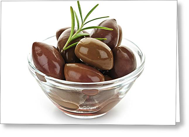 Olives Photographs Greeting Cards - Kalamata olives Greeting Card by Elena Elisseeva