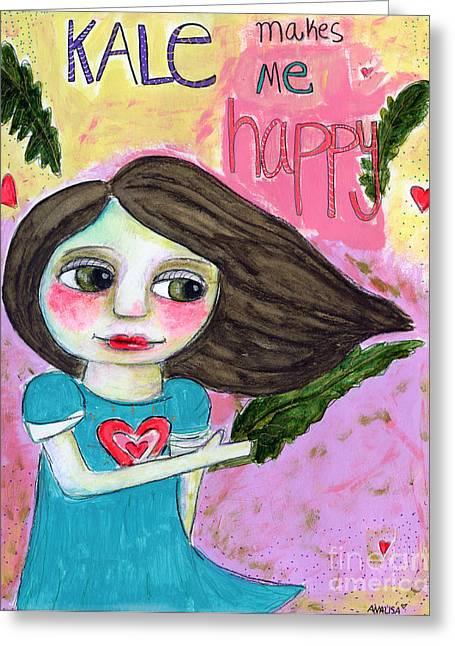 Kale Greeting Cards - Kale makes me happy Greeting Card by AnaLisa Rutstein