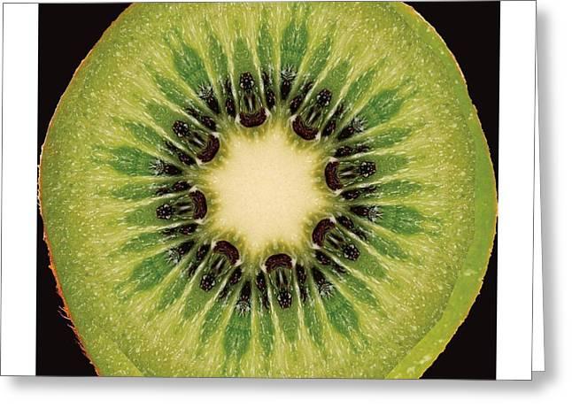 Kiwi Art Digital Art Greeting Cards - Kaleido Kiwi Fruit Greeting Card by Ck Gandhi