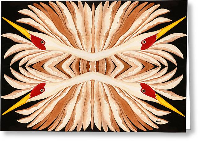 Sandhill Cranes Tapestries - Textiles Greeting Cards - Kaleidoscope Greeting Card by Alexandra  Sanders