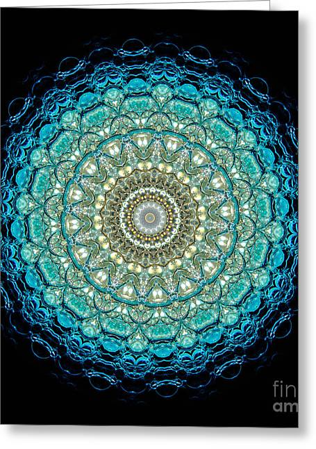Kaleidoscope Aquamarine Bubbles Greeting Card by Amy Cicconi