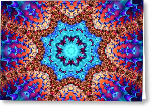 Geometric Artwork Greeting Cards - Kaleidoscope art wonderful blue red and brown colors Greeting Card by Matthias Hauser