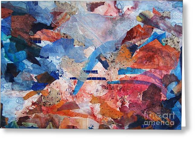 Blue Mixed Media Greeting Cards - Kaleidoscope Greeting Card by BJ Pinkston
