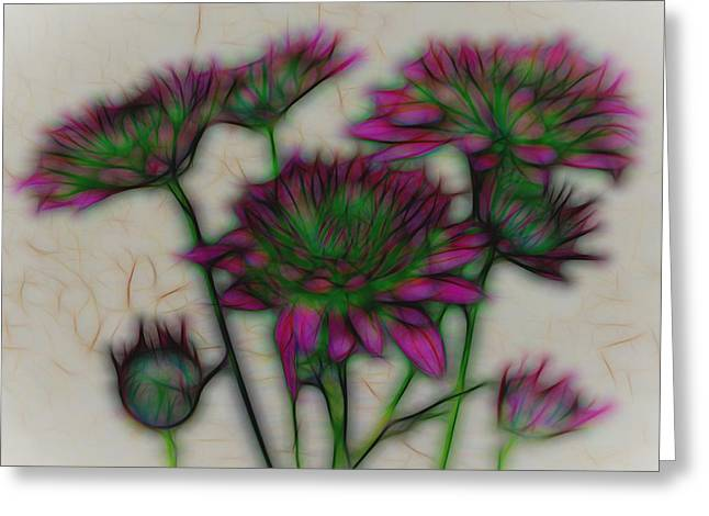 Kaleidoscope Bouquet Greeting Card by Judy Vincent