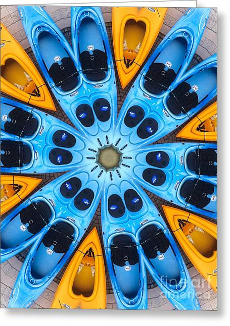 Canoe Greeting Cards - Kaleidoscope Canoes Greeting Card by Amy Cicconi