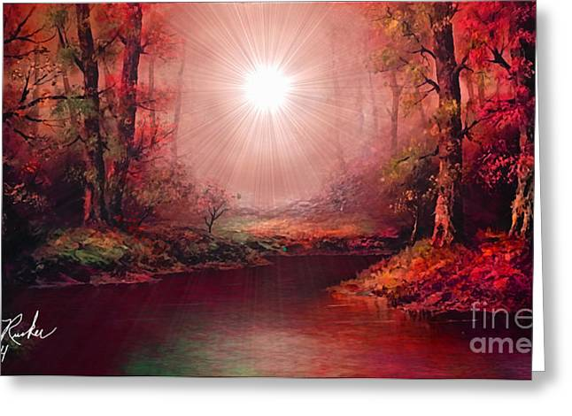 Reflections Of Trees In River Digital Greeting Cards - Kaleidoscope Forest Greeting Card by Michael Rucker